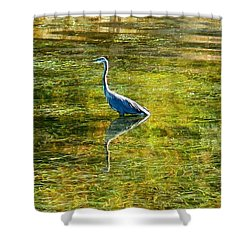 Heron In Emerald Shower Curtain by Karen Molenaar Terrell