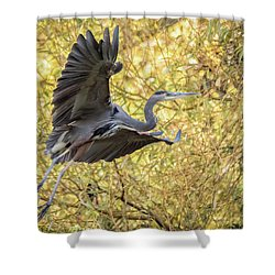 Heron In Flight Shower Curtain
