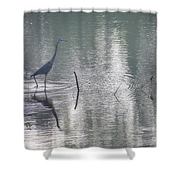 Shower Curtain featuring the photograph Heron In Pastel Waters by Skip Willits