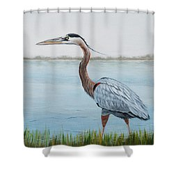 Shower Curtain featuring the painting Heron In The Marsh by Jimmie Bartlett