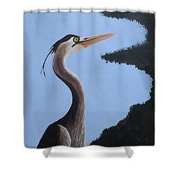 Heron In The Trees Shower Curtain