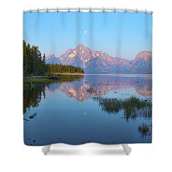 Heron On Jackson Lake Shower Curtain