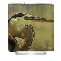 Heron On Texture Shower Curtain