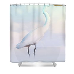 Heron Or Egret Stance Shower Curtain by Joseph Hollingsworth