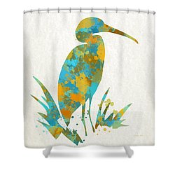 Heron Watercolor Art Shower Curtain by Christina Rollo