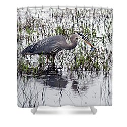 Heron With Fish Shower Curtain