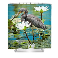 Heron With Water Lillies Shower Curtain