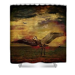Herons Shower Curtain by Chris Lord