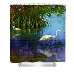Herons In Mangroves Shower Curtain