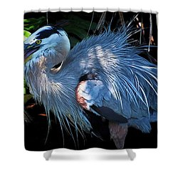 Heron's Lunch Shower Curtain