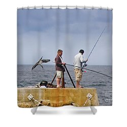 He's Behind You Shower Curtain by Terri Waters