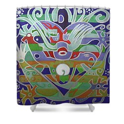Shower Curtain featuring the painting Hexagram 15-qian  by Denise Weaver Ross