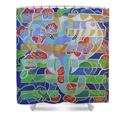 Shower Curtain featuring the painting Hexagram 16 - Yu - Enthusiasm by Denise Weaver Ross
