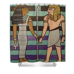 Shower Curtain featuring the painting  Hexagram 43-guai-truth To Power by Denise Weaver Ross
