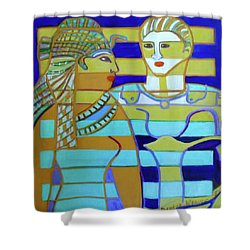 Shower Curtain featuring the painting Hexagram 44-gou-encounter by Denise Weaver Ross