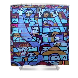 Shower Curtain featuring the painting Hexagram 45-cui-gathering by Denise Weaver Ross