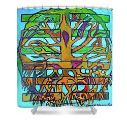 Shower Curtain featuring the painting Hexagram 46-sheng-pushing Upward by Denise Weaver Ross