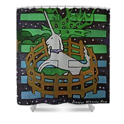 Shower Curtain featuring the painting Hexagram 47-kun-set-yourself-free by Denise Weaver Ross