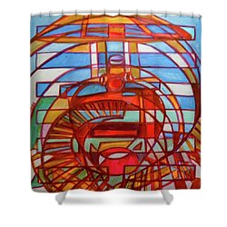 Shower Curtain featuring the painting Hexagram 48-jing-the Well by Denise Weaver Ross