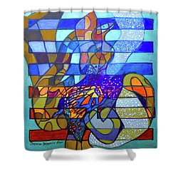 Shower Curtain featuring the painting Hexagram 49-ge-transformation by Denise Weaver Ross