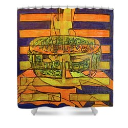Shower Curtain featuring the painting Hexagram 50-ding-the-cauldron by Denise Weaver Ross