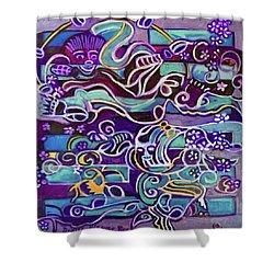 Shower Curtain featuring the painting Hexagram-51-zhen-thunder-shock by Denise Weaver Ross