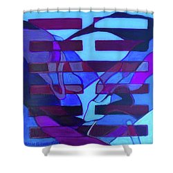Shower Curtain featuring the painting Hexagram 52-gen-immovable by Denise Weaver Ross