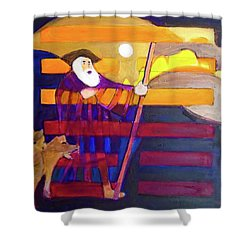 Shower Curtain featuring the painting Hexagram 56-lu-the Wanderer by Denise Weaver Ross