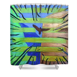 Shower Curtain featuring the painting Hexagram-57-xun-penetrating-wind- by Denise Weaver Ross