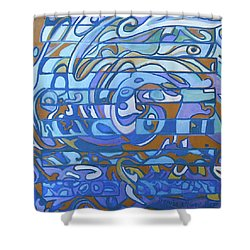 Shower Curtain featuring the painting Hexagram 59 - Huan Dispersion by Denise Weaver Ross