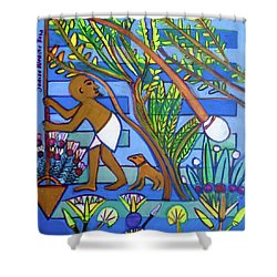 Shower Curtain featuring the painting ,hexagram 60-jie-constraint by Denise Weaver Ross