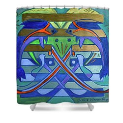 Shower Curtain featuring the painting Hexagram-61-zhoong-fu-sincerity by Denise Weaver Ross