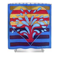 Shower Curtain featuring the painting Hexgram-25-wu-wang-hexagram by Denise Weaver Ross