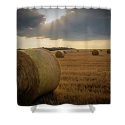 Shower Curtain featuring the photograph Hey Bales And Sun Rays by David Dehner