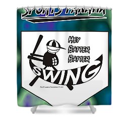 Hey Batter Batter Swing Shower Curtain by Maria Watt