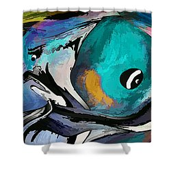 Shower Curtain featuring the painting Hey Guy I Am Silly Willy The Fish by Sherri  Of Palm Springs