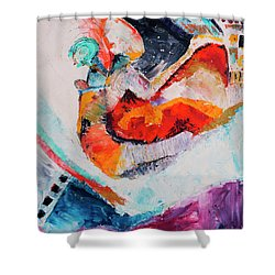 Hey Mr. Spaceman Shower Curtain by Stephen Anderson