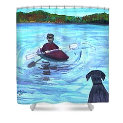 Shower Curtain featuring the painting Hey Where You Going  by Donna Walsh