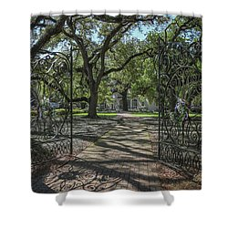 Shower Curtain featuring the photograph Heyman House Gates 1 by Gregory Daley  PPSA