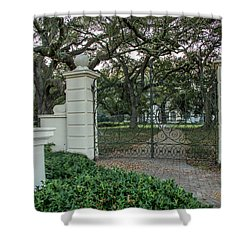 Shower Curtain featuring the photograph Heyman House Gates by Gregory Daley  PPSA