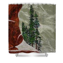 Hi Mountain Pine Trees Shower Curtain