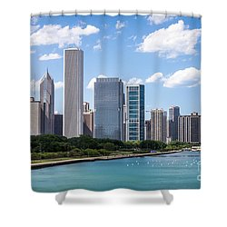 Hi-res Picture Of Chicago Skyline And Lake Michigan Shower Curtain by Paul Velgos