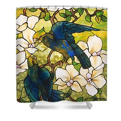 Hibiscus And Parrots Shower Curtain by Louis Comfort Tiffany