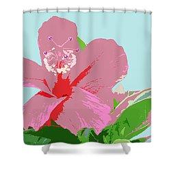 Hibiscus Flower Art - 3 Shower Curtain by Karen Nicholson