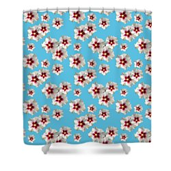 Shower Curtain featuring the mixed media Hibiscus Flower Pattern by Christina Rollo