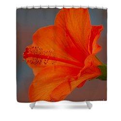 Hot Orange Hibiscus Shower Curtain