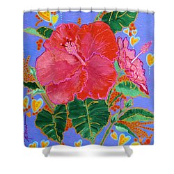 Hibiscus Motif Shower Curtain
