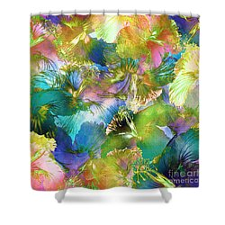 Shower Curtain featuring the digital art Hibiscus Trumpets by Klara Acel