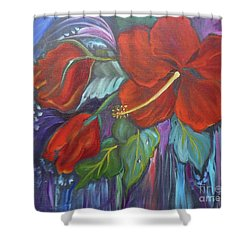 Hibiscus Whimsy Shower Curtain