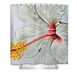 Hibiscus White And Red Shower Curtain by Sheron Petrie